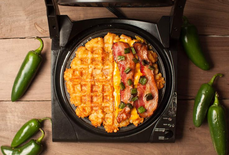 A bacon-jalapeño grilled cheese, made of waffles that're made of tater tots. Not for the faint of heart (or counting calories!)