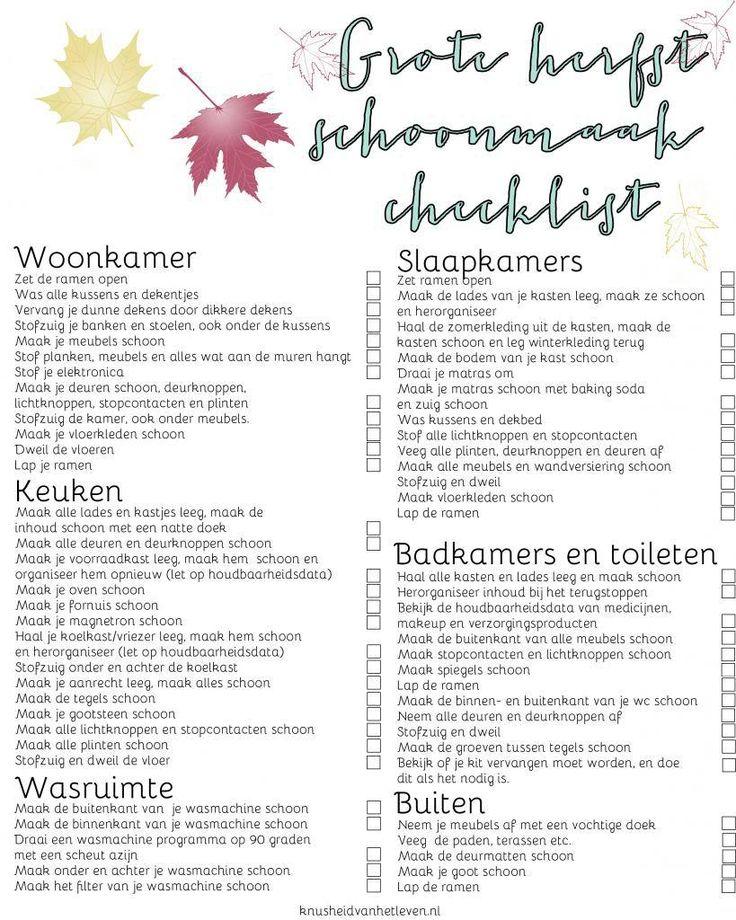 De grote herfst schoonmaak checklist