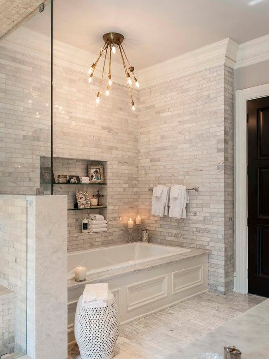 Bathroom Design, Comely Transitional Bathroom Designs Ideas With White Marble Tiling Wall And Floor Also Unique Ceiling Lights Design Also Classic Towel Rack Also Glass Bath Appliances Shelves Also White Ceramic Stool: Cool Minimalist Bathroom Designs for Small Spaces