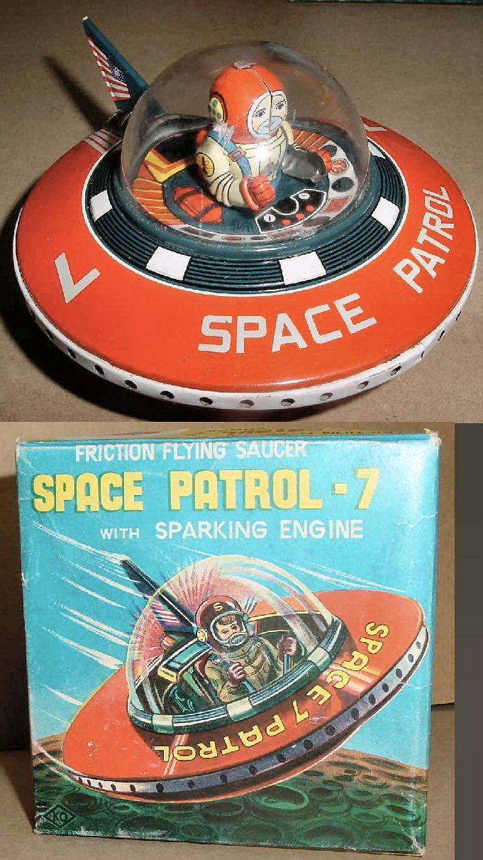 Flying Saucers - SPACE PATROL-7 SAUCER - YOSHIYA - JAPAN - ALPHADROME ROBOT AND SPACE TOY DATABASE