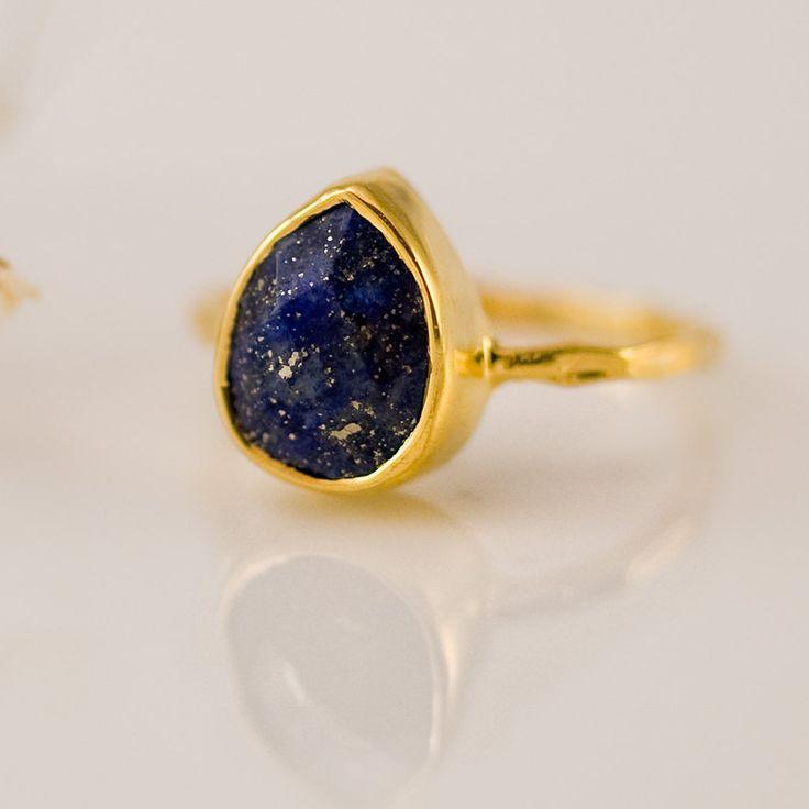 18K Gold Vermeil Ring - Lapis Ring -  Gemstone Ring - Bezel Ring - September Birthstone -. $66.00, via Etsy.
