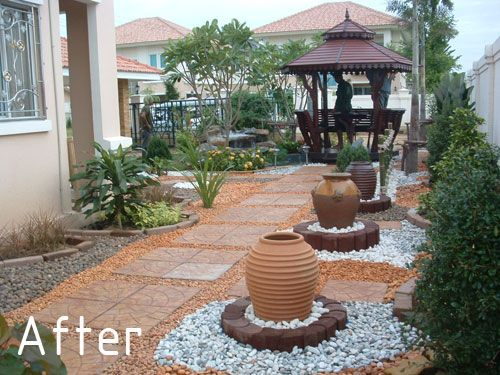 low maintenance landscaping (except for keeping weeds from getting a  foothold in all that gravel
