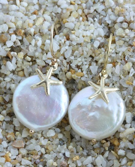 Star Fish and Fresh Water Coin Pearl Earrings, on 14k Gold Filled French Ear Wires