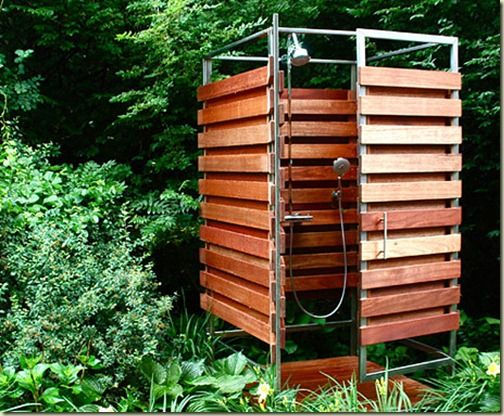 I just loved this well constructed, bamboo and cedar pre fab outdoor shower. Made by a small Massachusetts company called OboRain.