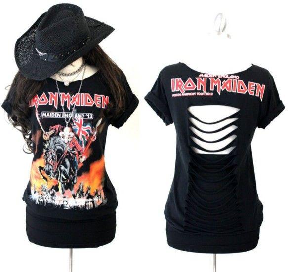 アイアン・メイデン (Iron Maiden) スタッズ付き背中カットTシャツ 男女兼用