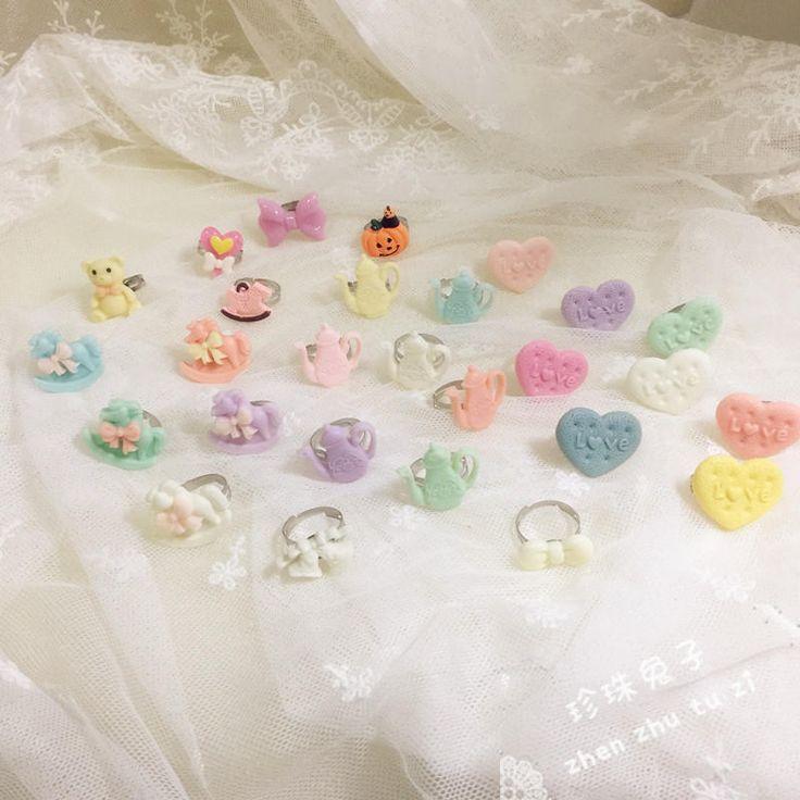 「珍珠兔」原创lolita基础款糖果色戒指 多色-淘宝网全球站