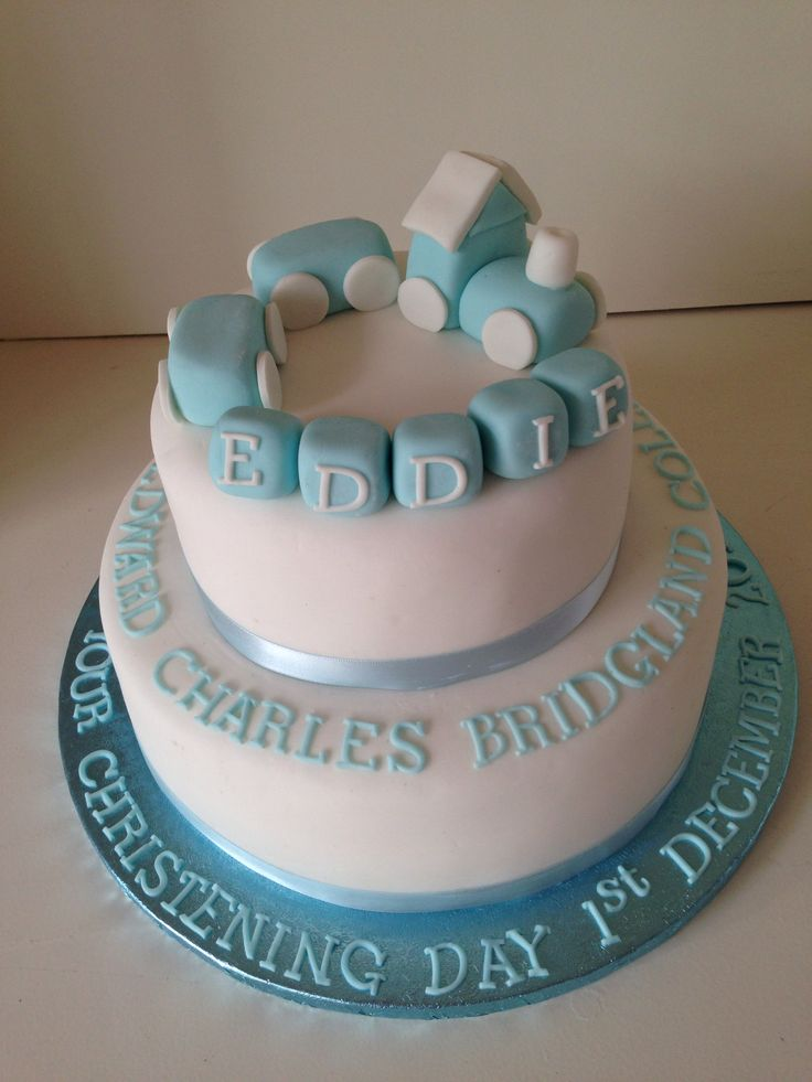 Choo Choo Train and Blocks Christening Cake