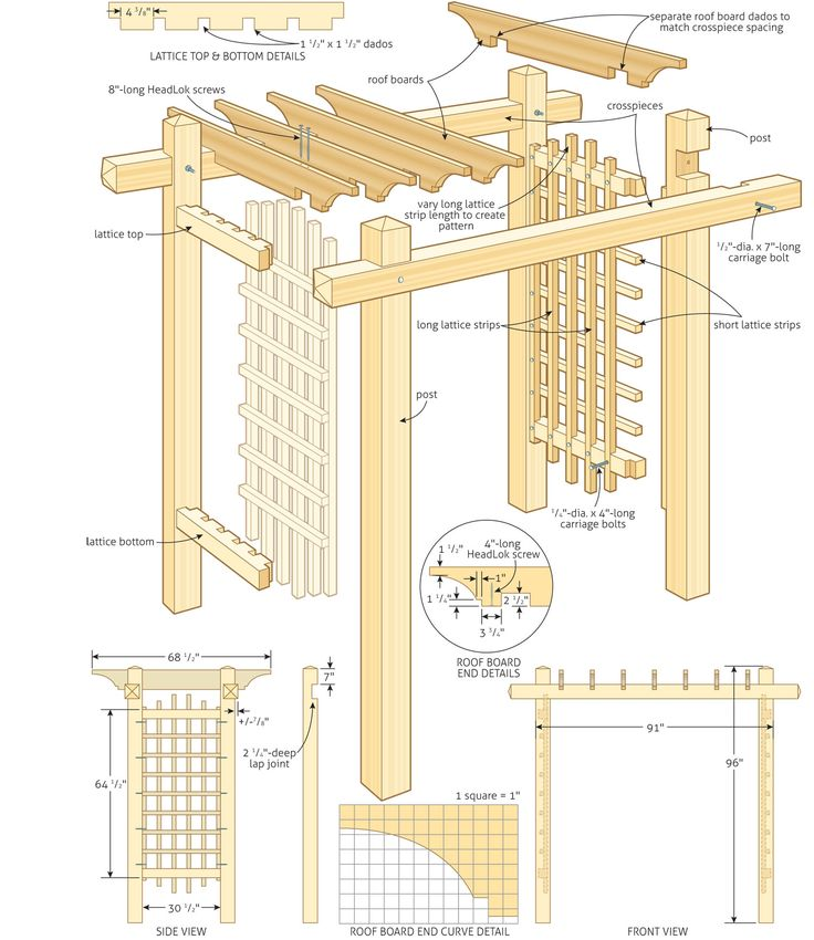 Lattice arbor plans woodworking projects plans for Plans for arbors