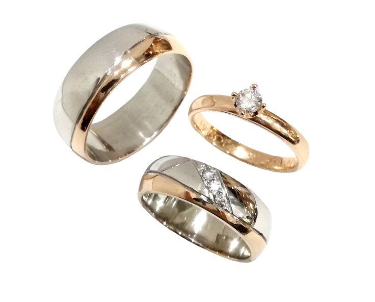 Argollas y pisa argolla en combinación oro blanco y rosado de 18K con circones/diamantes.