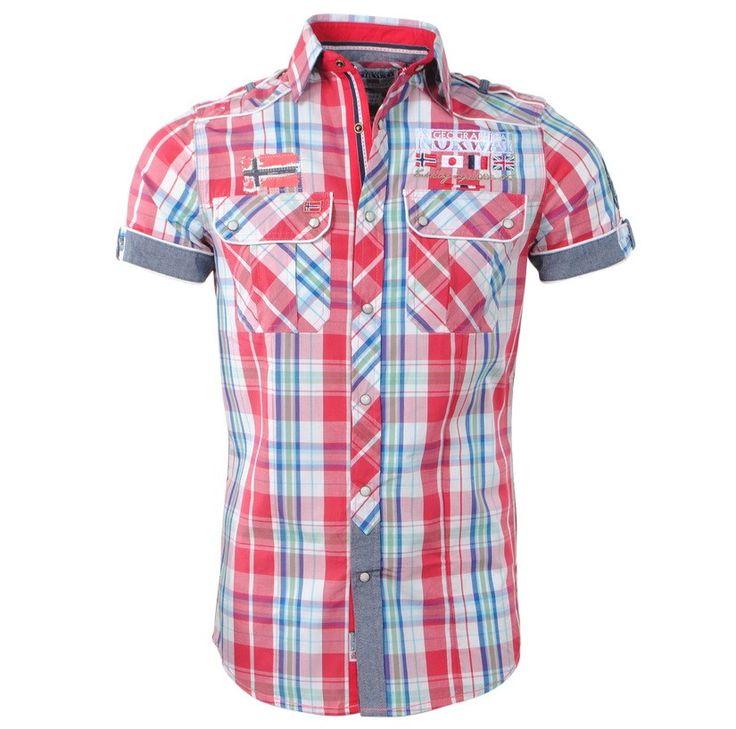 Geographical Norway - Men's Short Sleeve Shirt - Zempola - Coral - Navy - Moda Italia