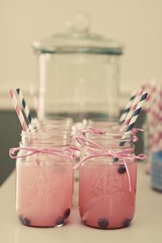 baby shower theme drinks Sprite with pink lemonade  blue berries!