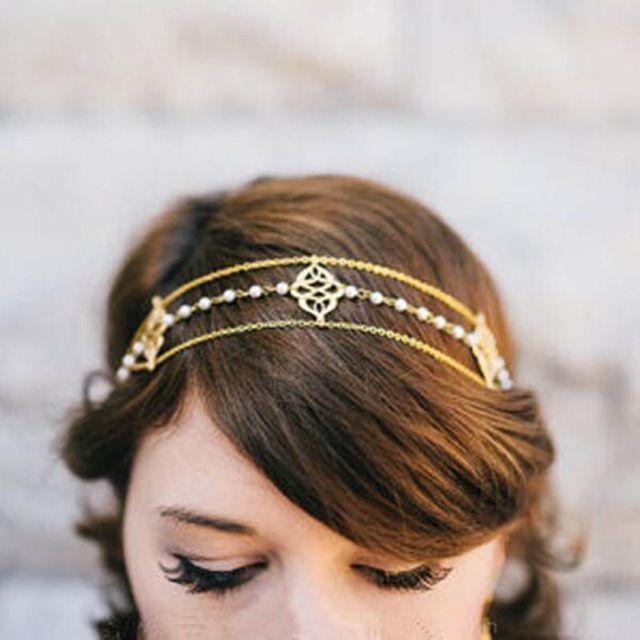 New BOHO Das Mulheres do Vintage Deco 20 s Flapper Pérola Multi Beads Crown Tikka Cabeça Cadeia Cabeça Casamento T034