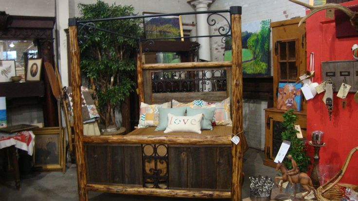 Custom Four Poster Bed Made With Reclaimed Wood And Iron
