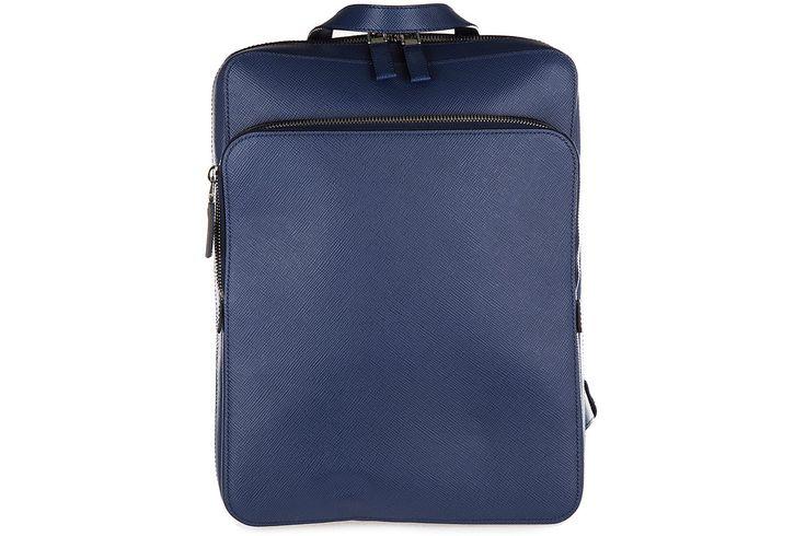 Prada men's leather rucksack backpack travel saffiano blu