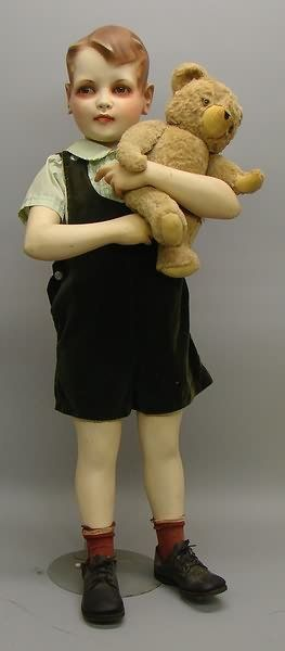 "36"" Child Mannequin with brown glass eyes. 1940's-50's"