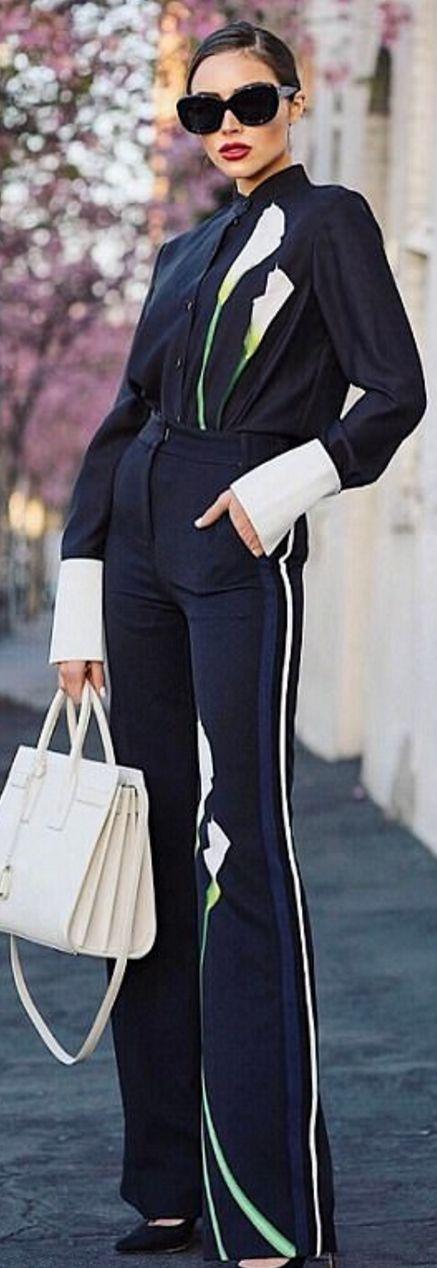 Olivia Culpo in Shirt and pants – Victoria Beckham X Target  Purse – Saint Laurent