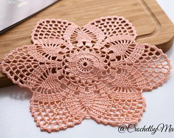 Peach doily, Round crochet doily, Mini doily, Handmade doily, crochet item, crochet lace doily, Wedding decoration, handmade gift
