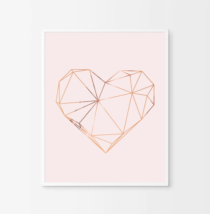Geometric Heart Print - Copper Heart - Copper and Blush Home Decor - Copper Foil Print - Copper Wall Art - Scandinavian Art - Copper Pink by AKAFoils on Etsy https://www.etsy.com/ie/listing/476727998/geometric-heart-print-copper-heart