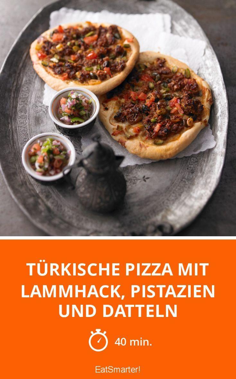 Türkische Pizza mit Lammhack, Pistazien und Datteln | http://eatsmarter.de/rezepte/tuerkische-pizza-mit-lammhack-pistazien-und-datteln-0
