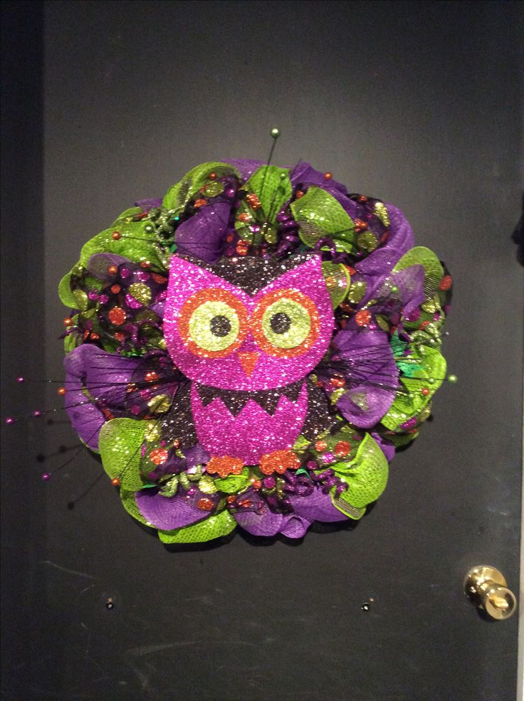 Wooden glitter owl with green and purple mesh