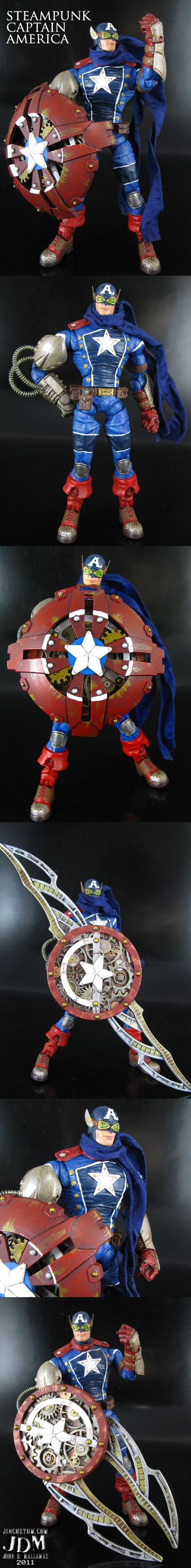 Steampunk Captain America action figure by *Jin-Saotome on deviantART | Follow here http://pinterest.com/cakespinyoface/geekery/ for even more Geekery-- art, tech and more!