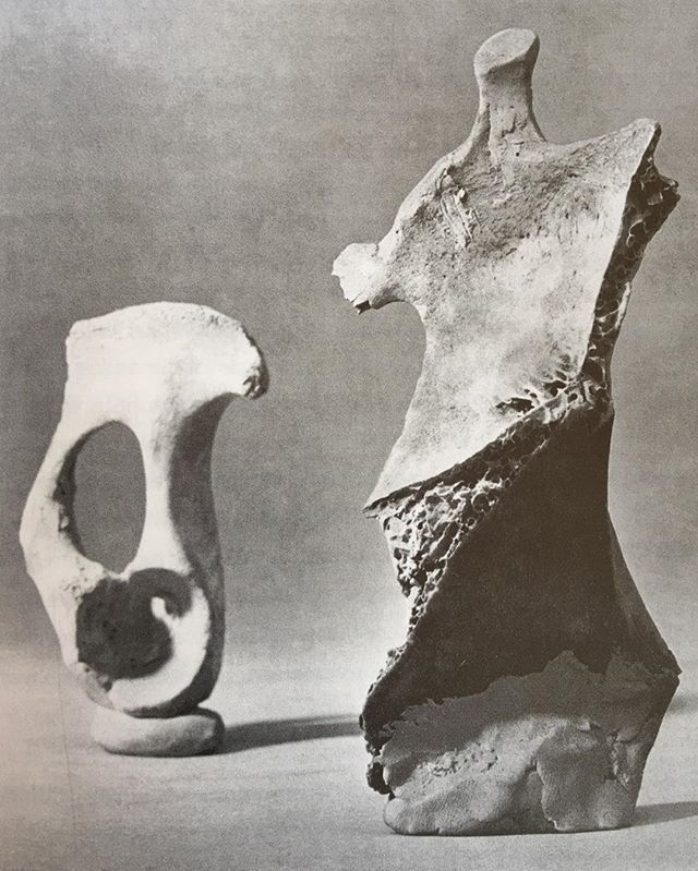 Incredible 60s grouping - only exists as a photo - Henry Moore - Maquette for Standing Figure:Knife Edge - 1961 - Clay & Plaster on Bone - @letterofresignation destroyed