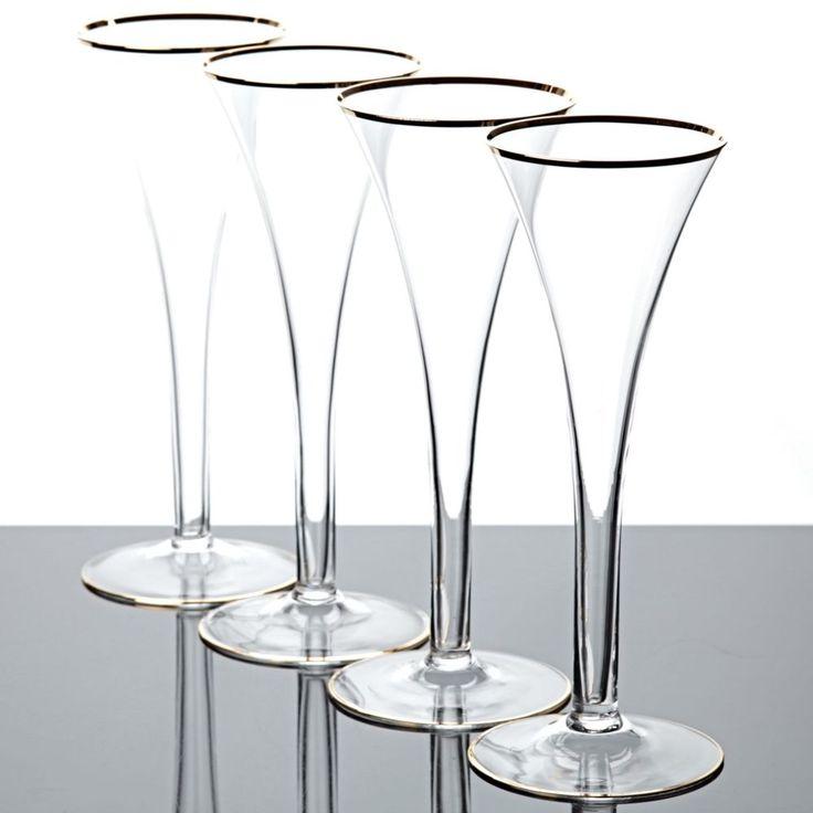 4 Sektgläser Sektflöten Champagnerflöten Goldrand Vintage alte Champagner Gläser