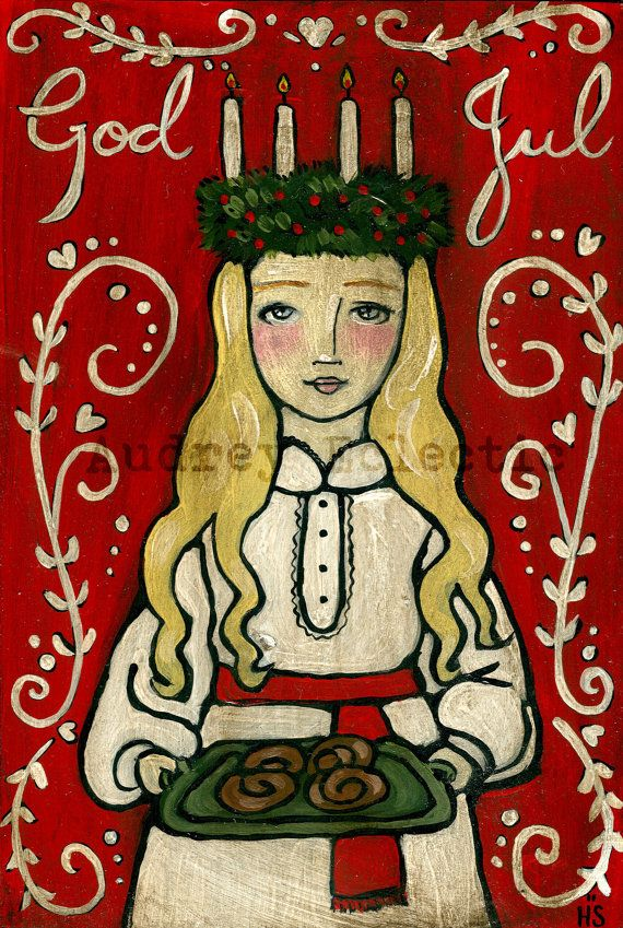 Ever since I was a little girl I have been enthralled by the magic of a traditional Swedish Christmas, especially the St. Lucia tradition. I am pleased to now be offering you a print of one of my most favorite Christmas paintings- St. Lucia. This print features a young girl in the traditional St. Lucia robe and candle lit wreath with St. Lucia buns on a tray. The words God Jul (Merry Christmas) are painted into the stylized background.  This print is professional made on sturdy white matte…