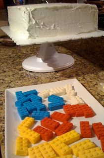Melted candy lego blocks to go on cake! Genius!!