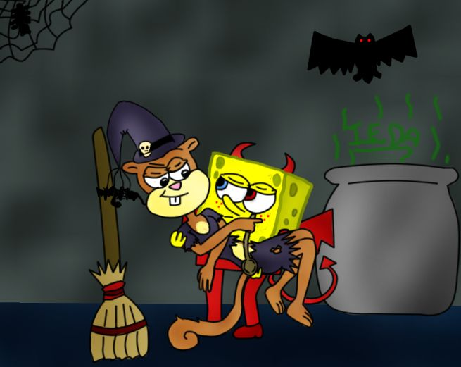This is my drawing of SpongeBob and Sandy for Halloween, and also a entry for the Spandy Halloween contest of =^.^= Sandy as a Witch, SpongeBob as a imp. Little story of this drawing: SpongeBob: Yo...