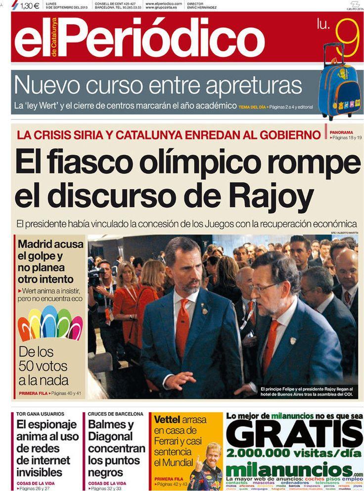 Los Titulares y Portadas de Noticias Destacadas Españolas del 9 de El Periódico ¿Que le pareció esta Portada de este Diario Español?