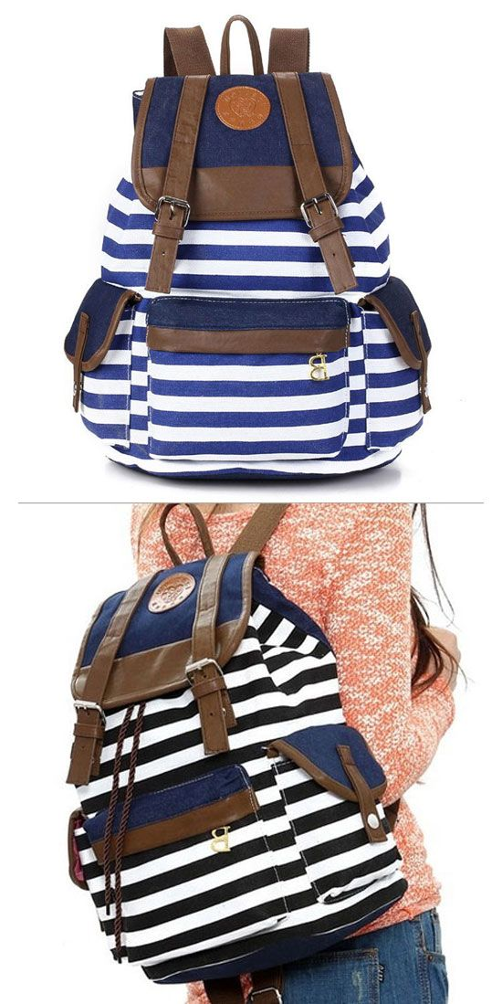 SO cool backpack ! Retro Navy Stripe Print Latest Backpack #backpack #retro #stripe