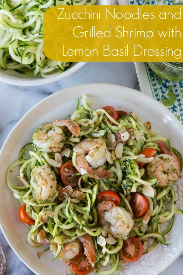 Zoodles and shrimp - basil pesto