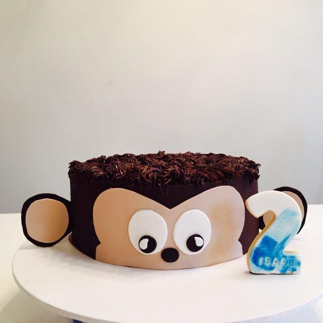 Monkey Cake - chocolate mud with chocolate ganache. Happy Birthday Isaac! July 2015