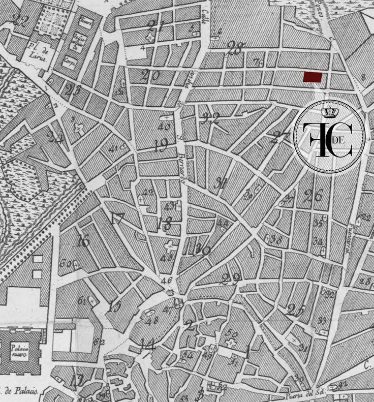 Mapa de Madrid (sobre 1800) indicando la localización exacta de la Real Fábrica de Cera a las afueras de la ciudad en la Calle de la Palma.