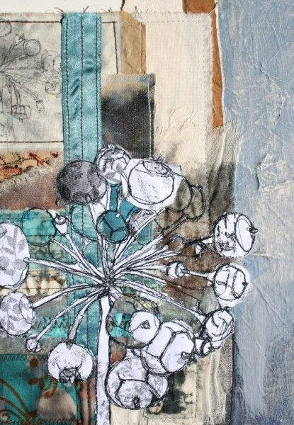 Artist- Ros Lymer. Coloured, collaged background with white fabric for the design and black freehand edges.