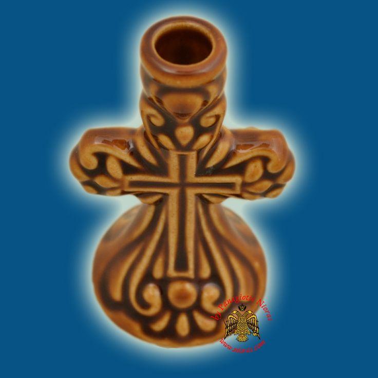 Candle Holder Orhtodox Cross Colored Ceramic Brown 8cm