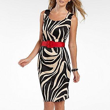 Alyx 174 Zebra Print Belted Sheath Dress Jcpenney Dresses
