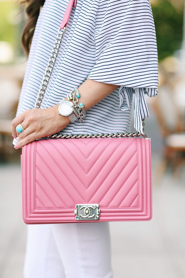 striped off shoulder top , also love THIS ONE  // white pants  Chanel boy bag, similar bag HERE  and HERE   similar ankle str...