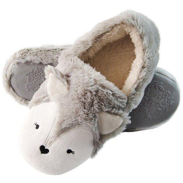 Caramella Bubble Fox Fleece Bootie Slippers Wool Plush Indoor/Outdoor... ($13) ❤ liked on Polyvore featuring shoes, fox shoes, fleece footwear, wide winter boots, wide width winter boots and fleece winter boots