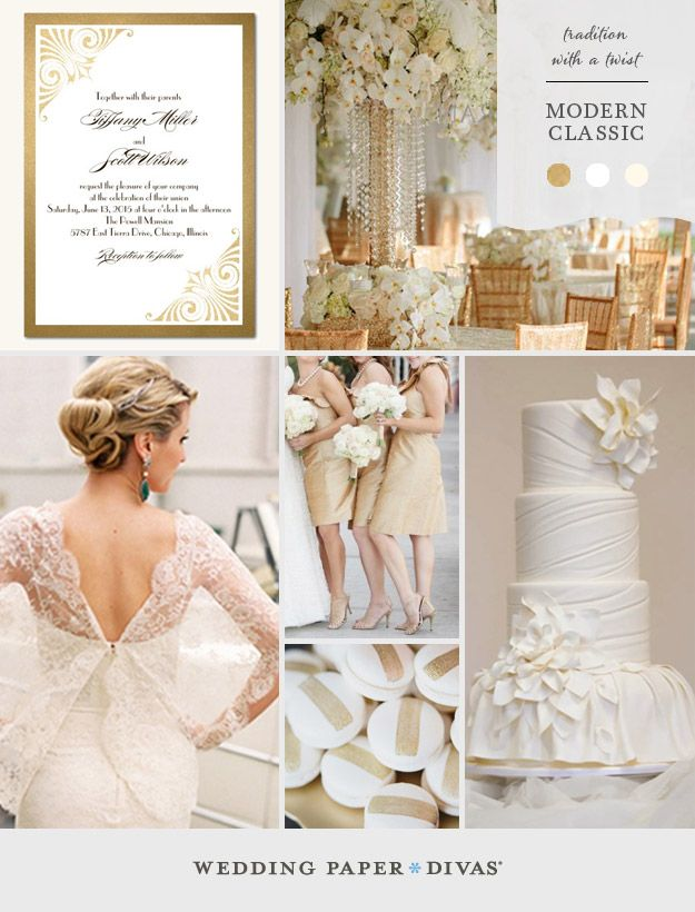 Make a lasting impression on your guests with a wedding theme that is traditional, with a twist. Shades of ivory and white with elegant metallic gold touches are exactly what you need for a modern classic wedding.