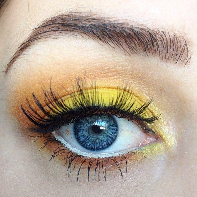 Orange and yellow eye makeup