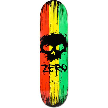 """Get ready to wage war on the parks and rails with the Zero Sandoval War Paint 8.0"""" skateboard deck. This 7-ply maple Tommy Sandoval pro model skate deck features a rasta themed red, yellow, and green War Paint graphic, custom Zero skull logo and script graphic, Shallow Grave concave by Zero for superior response and pop. Enlist the Zero Sandoval War Paint 8.0"""" skateboard deck in the fight against rails and ramps. Tested and approved by Zero super pro Tommy Sandoval!"""