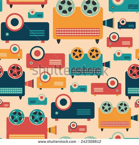 Seamless pattern with colorful retro video projectors. #retro #retropattern #vectorpattern #patterndesign #seamlesspattern