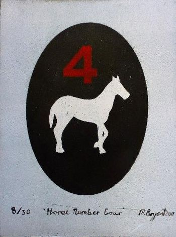 """Horse Number 4"" by Michele Bryant. Relief print on hand printed paper. Available for purchase, check it out at www.smythgalleries.co.nz"