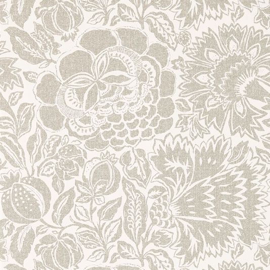 Poppy Damask Wallpaper A beautiful wallpaper with an informal damask of abstracted plants and flowers, shown in matt silver on a cream ground. The damask design has been printed to resemble woven fabric and is inspired by a 17th century hand painted resist dyed Indian chintz.