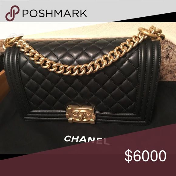 Chanel Boy Bag with gold hardware Brand new without tags comes with box and authenticity card! Negotiable CHANEL Bags Crossbody Bags