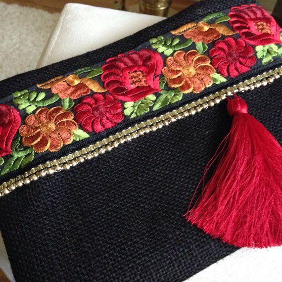 Rojo rosas florales embrague negro noche por BOHOCHICBYDAMLA