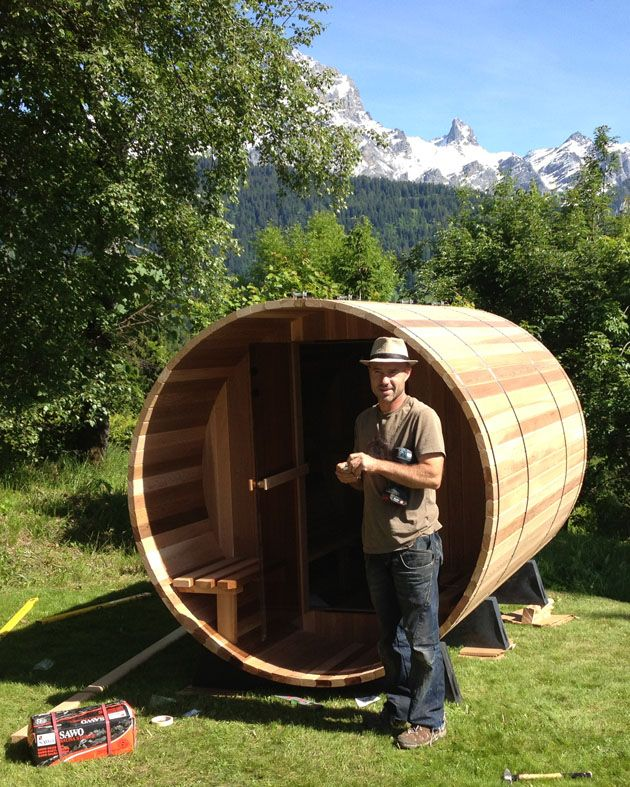 Take a look at this brand new, beautiful installation of a Canopy Barrel Sauna overlooking the Swiss Alps.  Stunning!
