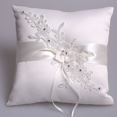 Gorgeous off white satin and lace ring pillow with pearl Wedding Ring Bearer Pillow ...